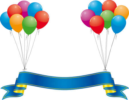award winning: celebration banner and colorful balloon Illustration