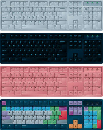 qwerty: Photorealistic vector illustration of PC keyboards