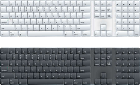 keyboard key: computer keyboard with option of black or white