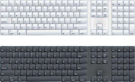 klawiatura: klawiatury komputera z możliwością czarny lub biały Ilustracja