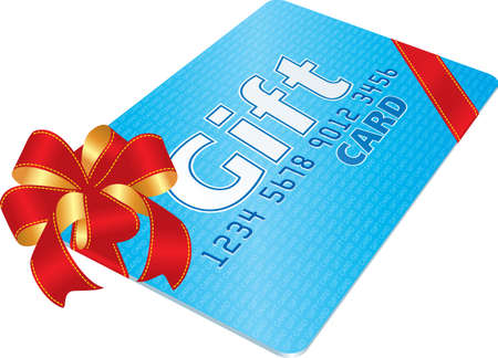 prepaid card: Gift Card with red bow  Illustration