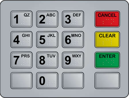 pads: keypad of an automated teller machine
