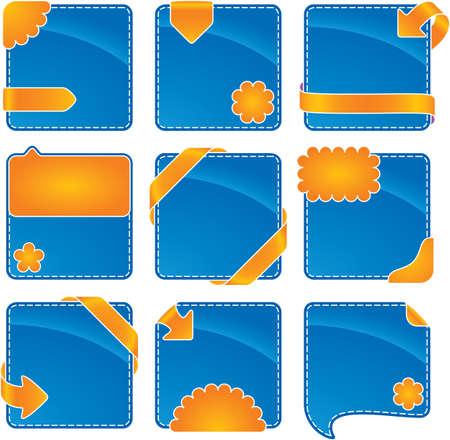 orange-blue web banner set  Vector