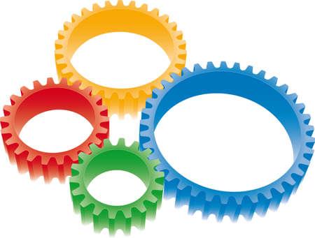 gearwheel: colorful gears set Illustration