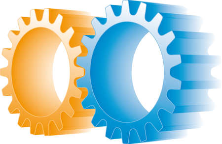 two wheel: orange and blue gears