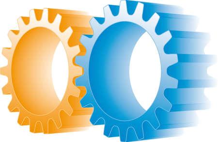web 2: orange and blue gears
