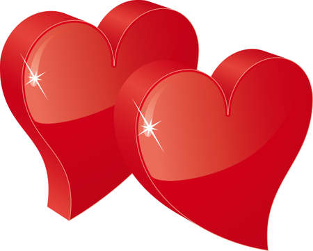 two red hearts Vector