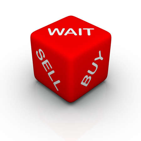 buy, sell, wait (colorful cubes words series) photo
