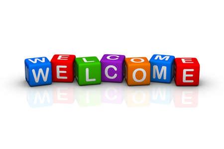 welcome sign: Bienvenue (s�rie de cubes de buzzword color�) Banque d'images