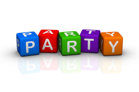 violet icon: party (colorful buzzword cubes series) Stock Photo