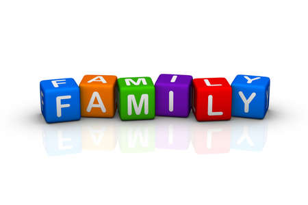 family isolated on white: family (buzzword cubes series)