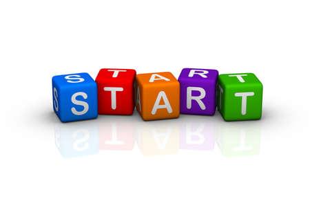 buzzword: start (buzzword colorful cubes series) Stock Photo