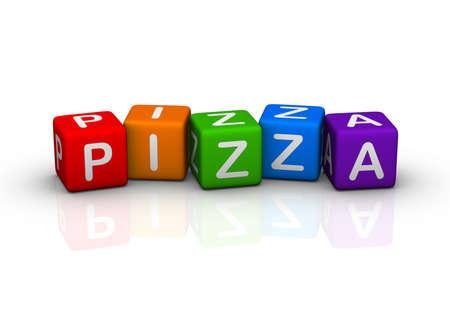 box of pizza: Pizza (serie de cubos coloridos cantinela) Foto de archivo