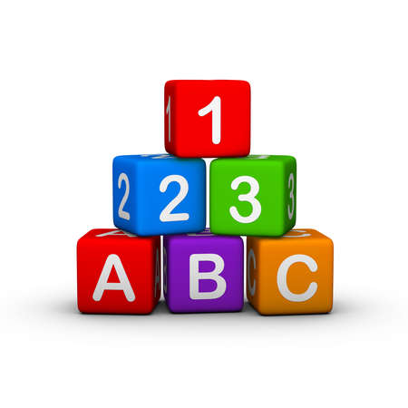 Educational Toy Blocks with letters and numbers photo