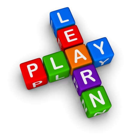 play blocks: Learn and Play (colorful blocks on white background)