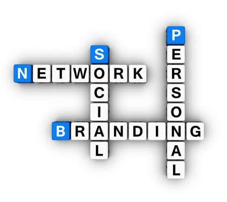 Personal Branding Social Network  (blue-white cubes crossword series) photo
