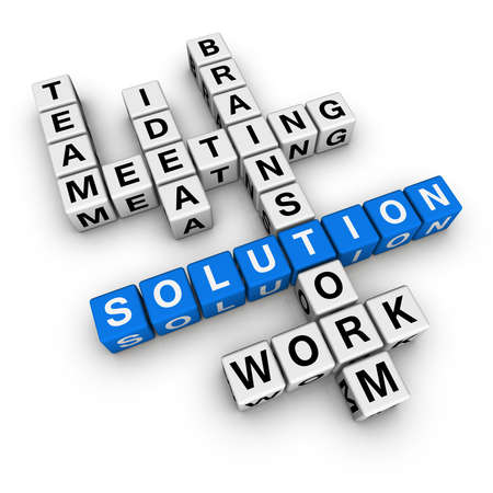 solution crossword (blue-white cubes crossword series) Stock Photo - 7252268