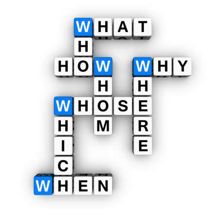all question words crossword (blue-white cubes crossword series) Stock Photo - 7252247