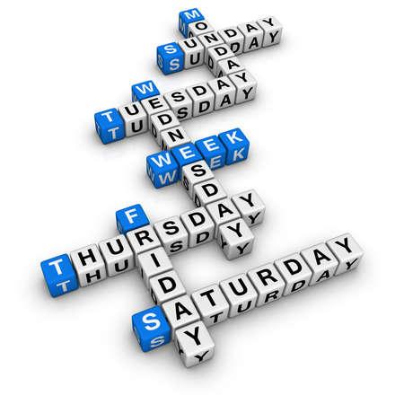 weekdays: weekdays  (blue-white cubes crossword series)