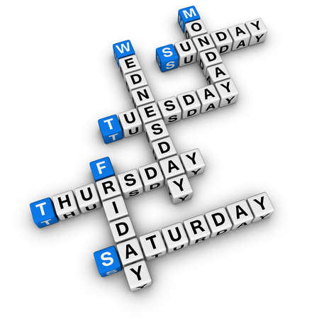 weekdays: weekdays crossword (blue-white cubes crossword series) Stock Photo
