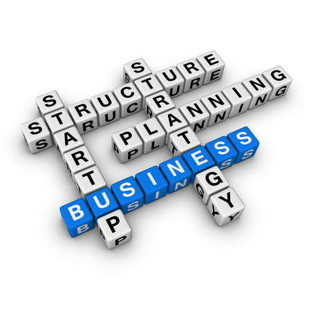 crossword: startup business  (blue-white cubes crossword series) Stock Photo