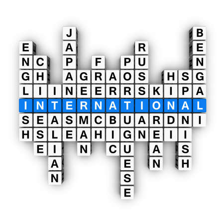 multilingual concept  (blue-white cubes crossword series) Stock Photo - 7252271
