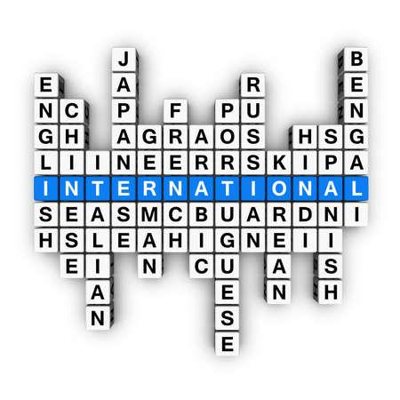 multilingual concept  (blue-white cubes crossword series) photo
