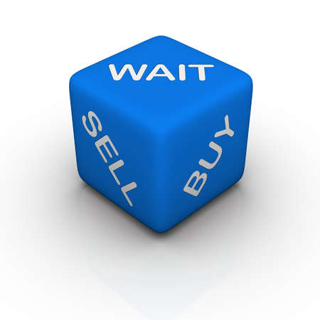 sell: buy, sell, wait (blue cubes words series) Stock Photo