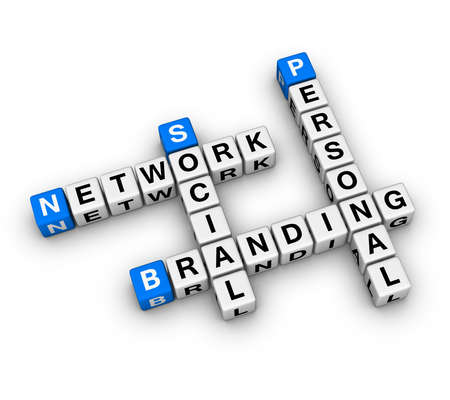 interaccion social: Personal red social marca (serie de crucigrama 3D)