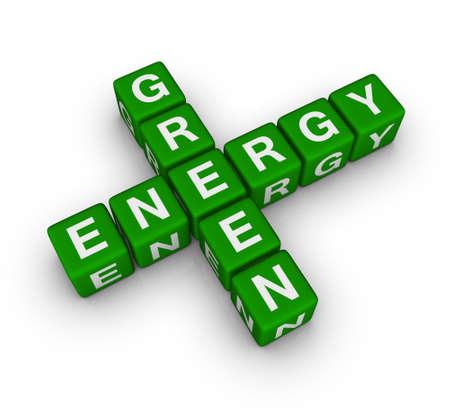 green energy label (cubes crossword puzzle) photo