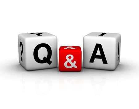 answers questions: Simbolo di cubi di domande e risposte Archivio Fotografico