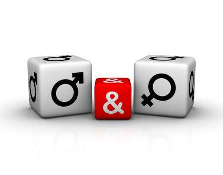 male and female symbol on dice Stock Photo - 8333532