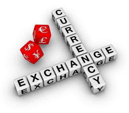 currency exchange crossword and red dice  photo