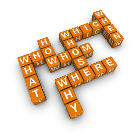 questionary: all question words  (blue-white cubes crossword series) Stock Photo