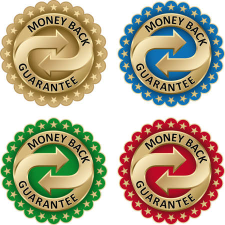 Money Back Guarantee labels Set with gold arrows and stars Vector