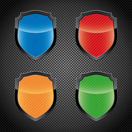 Glossy empty shield emblems  Vector