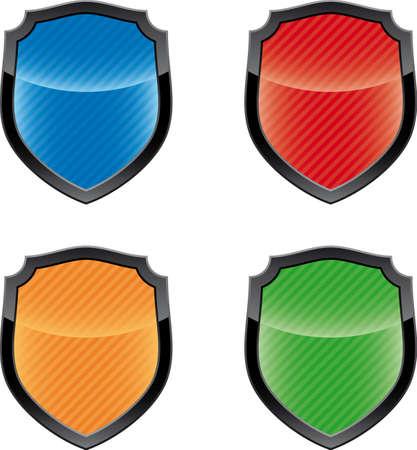 Glossy empty shield emblems   Vector