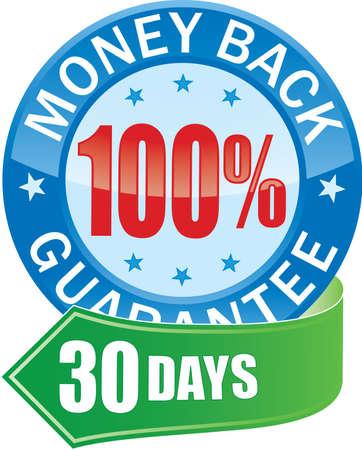 guarantee seal: Garantizar la devoluci�n de dinero icono Web brillante Vectores
