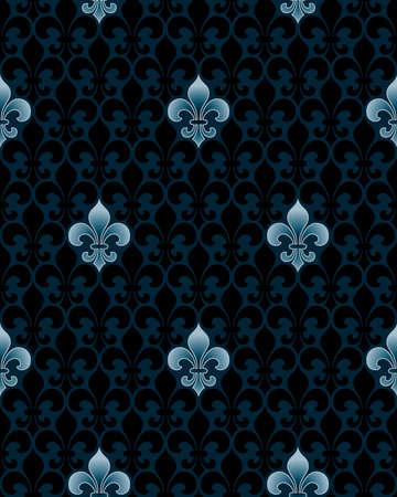 lys: dark fleur-de-lis seamless pattern