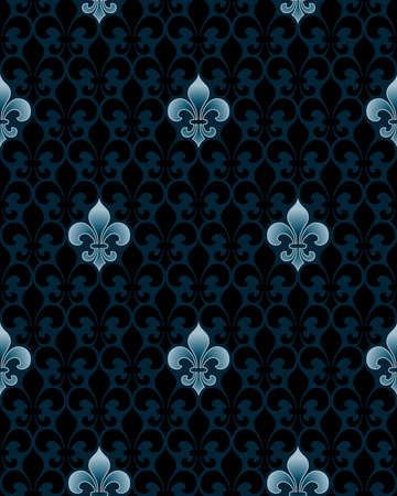 fleur: dark fleur-de-lis seamless pattern