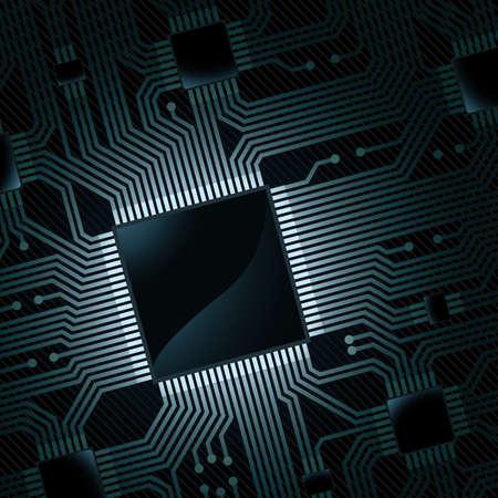 chip: placa de circuito electr�nico con chip  Vectores