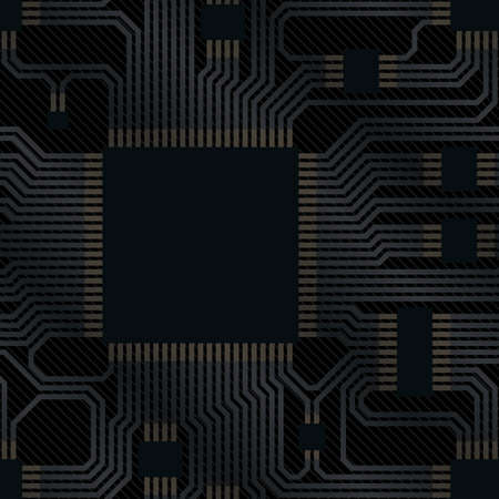 circuito electronico: placa de circuito electr�nico con chip  Vectores