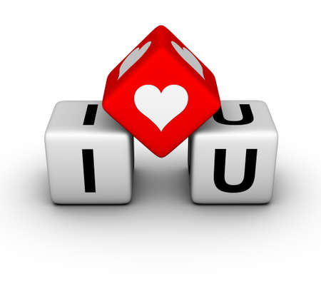 red dice: I love you (valentines day symbol)