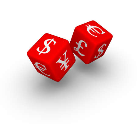 trader: currency exchange red dice icon