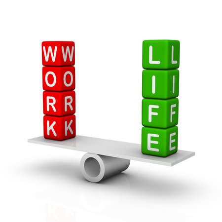 balance scale: Work and Life Balance Stock Photo