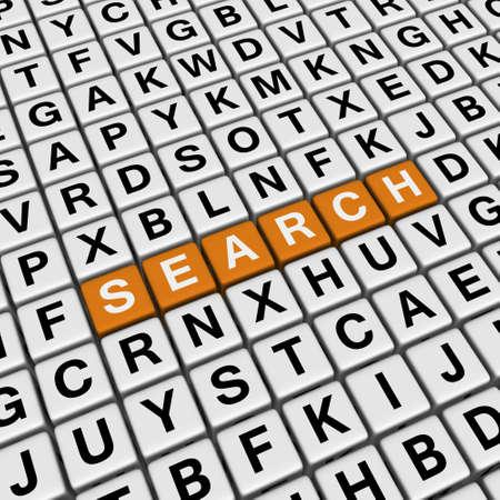 search    (3D crossword orange series) photo