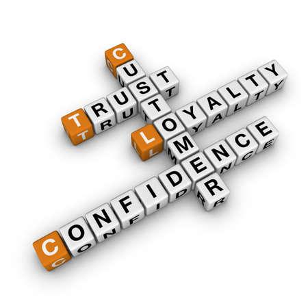 costomer loyalty    (3D crossword orange series) Stock Photo - 8773250