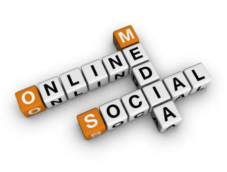 on-line social media   (3D crossword orange series) photo