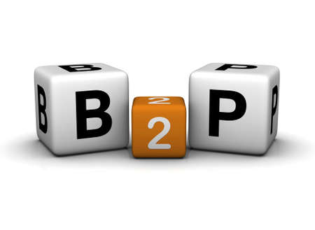 Business To People symbol   (3D crossword orange series) photo