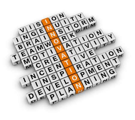 innovacion: Innovaci�n empresarial (serie 3D crucigrama naranja) Foto de archivo